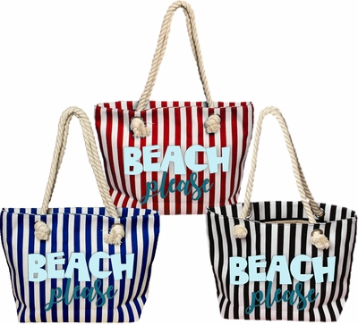 Tropical/ Nautical/ Beach Please Rope Tote Bag/ Beach Please Large Beach Bag With Rope Handles/ Striped Beach Bag With Nautical Rope Handles