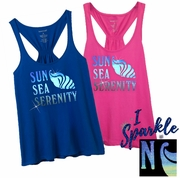 Tropical/Nautical/ Beach Tank Top/Swim Suit Cover Up/ Vacation Shirt, Glitter Sun Sea Serenity Beach Tank Top/  Custom Print Seashell Tank Top