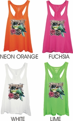 Tropical Parrot And Margarita Women's Racer Back Flare Tank