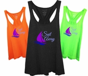 Tropical Sail Away Nautical Women�s Racer back Flare Tank