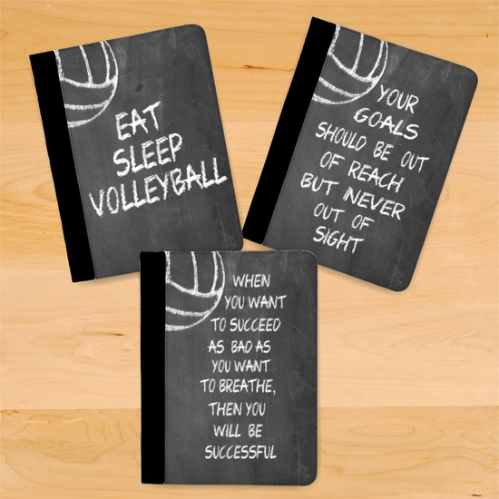 Volleyball Chalkboard Motivational And Inspirational Quotes Notebook/Padfolio