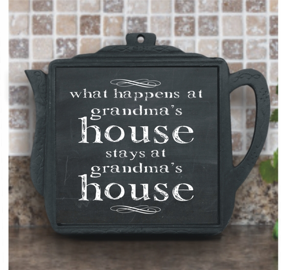 What Happens At Grandma's House Chalkboard Iron Teapot Trivet With Ceramic Tile