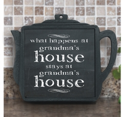 What Happens At Grandma�s House Chalkboard Iron Teapot Trivet With Ceramic Tile