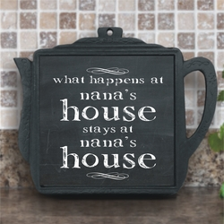 What Happens At Nana�s House Chalkboard Iron Teapot Trivet With Ceramic Tile