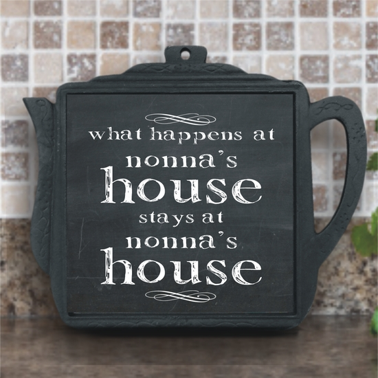 What Happens At Nonna's House Chalkboard Iron Teapot Trivet With Ceramic Tile