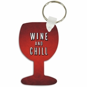 Wine And Chill Wine Glass Shaped Aluminum Key Tag/Keychain/Key Charm