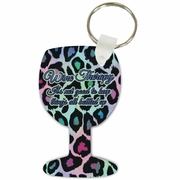 Wine Therapy Wine Glass Shaped Aluminum Key Tag/Keychain/Key Charm