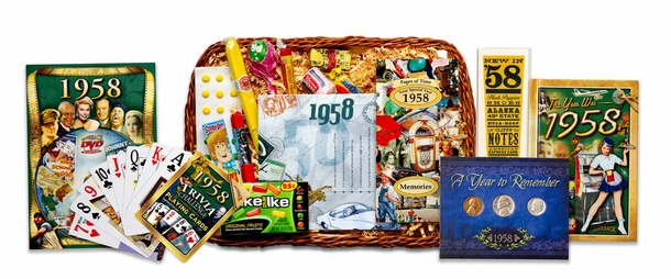 60th Gift Basket for 1958 with Coins