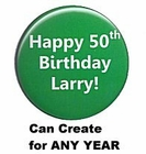 Personalized Green Happy Birthday Button