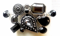 Abstract Onyx Marcasite Hair Jewel Ponytail Holder