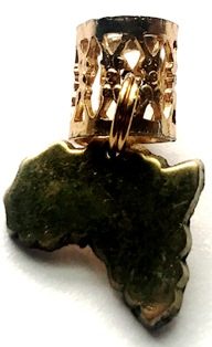 Brass Map of Africa Hair Charm