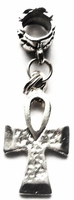Ankh Bright Silver Textured Hair Charm