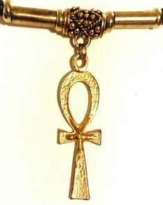 Ankh Long Bright Gold Ponytail Holder