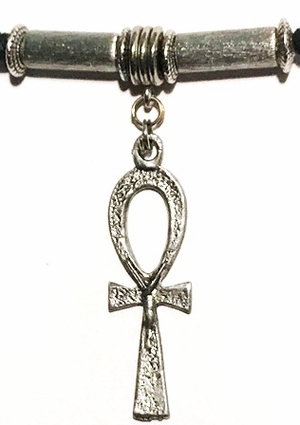 Ankh Long Brush Silver Unisex Hair Tie