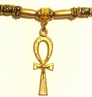 Ankh Long Gold Ponytail Holder