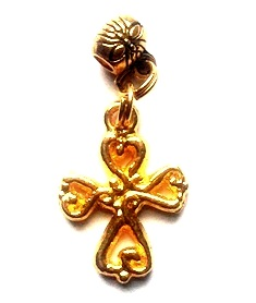 Fancy Gold Cross Hair Charm