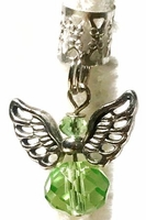 Crystal Angel Pale Green Silver Wings Hair Charm