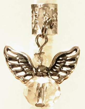 Crystal Clear Angel Silver Wings Hair Charm