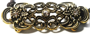 Dark Topaz Filigree Brooch