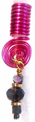 Fuchsia Purple Wire Coil Hair Charm