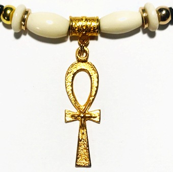 Gold Ankh Bone Bead Ponytail Holder