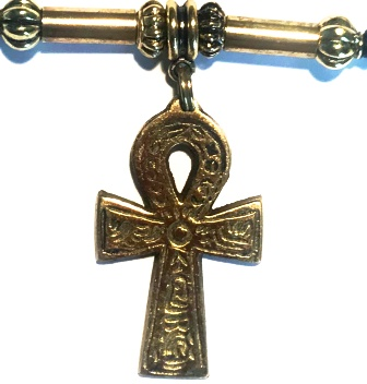 Hieroglyphic Brass Ankh Unisex Ponytail Holder