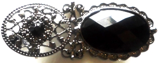 Onyx Facet Crystal Brooch