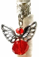 Red Crystal Angel Silver Wings Hair Adornment Charm