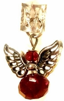 Ruby Crystal Silver Winged Angel Hair Charm