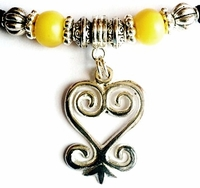 Sankofa Silver Yellow Accent Ponytail Holder