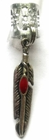 Silver Feather Red Stone Ear Cuff