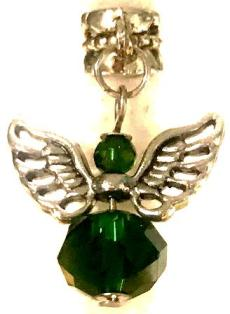 Silver Winged Angel Green Crystal Hair Charm