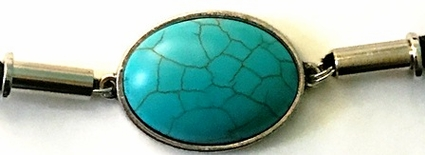 Silver Oval Turquoise Vein Ponytail Holder