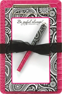 Ava Clipboard Notepad Gift Set - Be Joyful Always