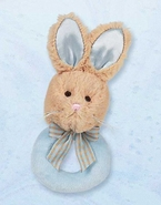 Bearington Baby Lil Bunny Tail Ring Rattle - Blue
