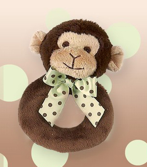 Bearington Baby Lil' Giggles Monkey Plush Ring Rattle
