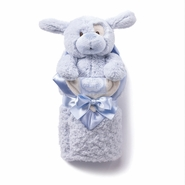 Kathy Ireland Blue Plush Dog & Baby Blanket Set
