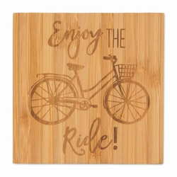 "Brownlow Bicycle ""Enjoy the Ride"" Bamboo Coaster Set"