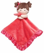 Carters Cuddle Plush Dark Pink Blanket - Doll with Pigtails