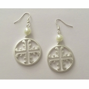 Earrings - Silvertone Creative Cross and Pearl