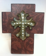 Faith Collection Standing Cross - Brown with Rhinestones