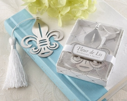 Fleur de Lis Bookmark with White Silk Tassel