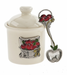 Ganz Condiment Jar with Spoon - Basket of Apples