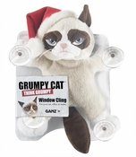 Ganz Grumpy Cat Window Cling with Santa Hat