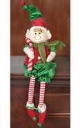 Hanna's Handiworks Christmas Striped Plush Dangle-Leg Elf Boy - 20""