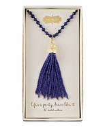 Mud Pie Beaded Tassel Necklace - Navy