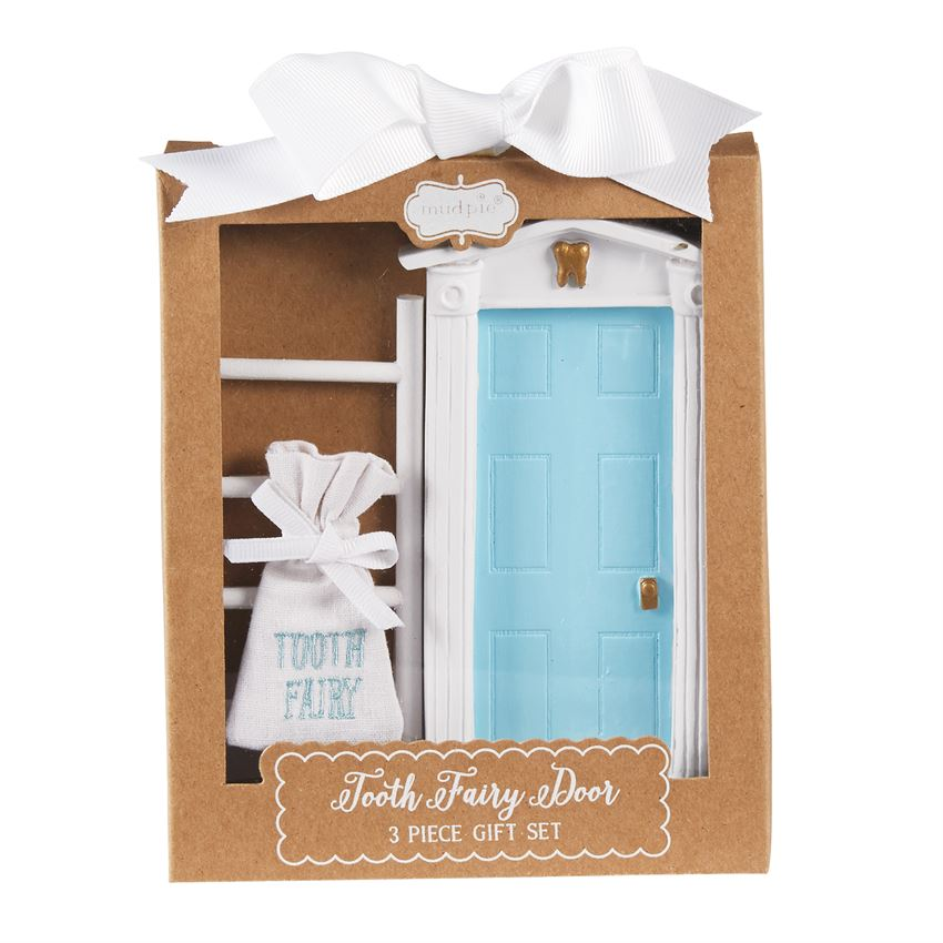 Mud pie blue tooth fairy door set hearts desire gifts for Fairy door gift set