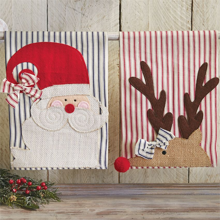 Mud Pie St Nick Holiday Ticking Towels