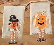 Mud Pie Witch and Pumpkin Halloween Dangle Leg Towels Set