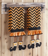 Mud Pie Witch Legs Chevron Tea Towels Set